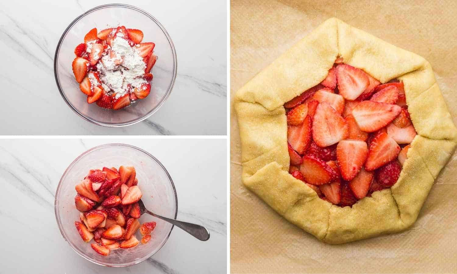 Making the strawberry filling for strawberry galette