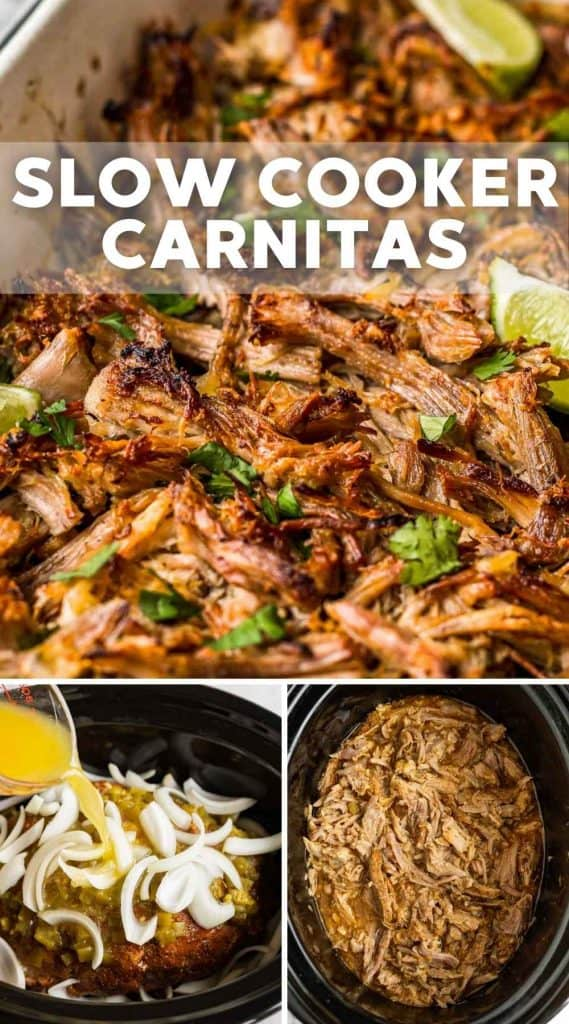 Slow Cooker Carnitas Pinnable image (a collage with 3 images and overlay text)