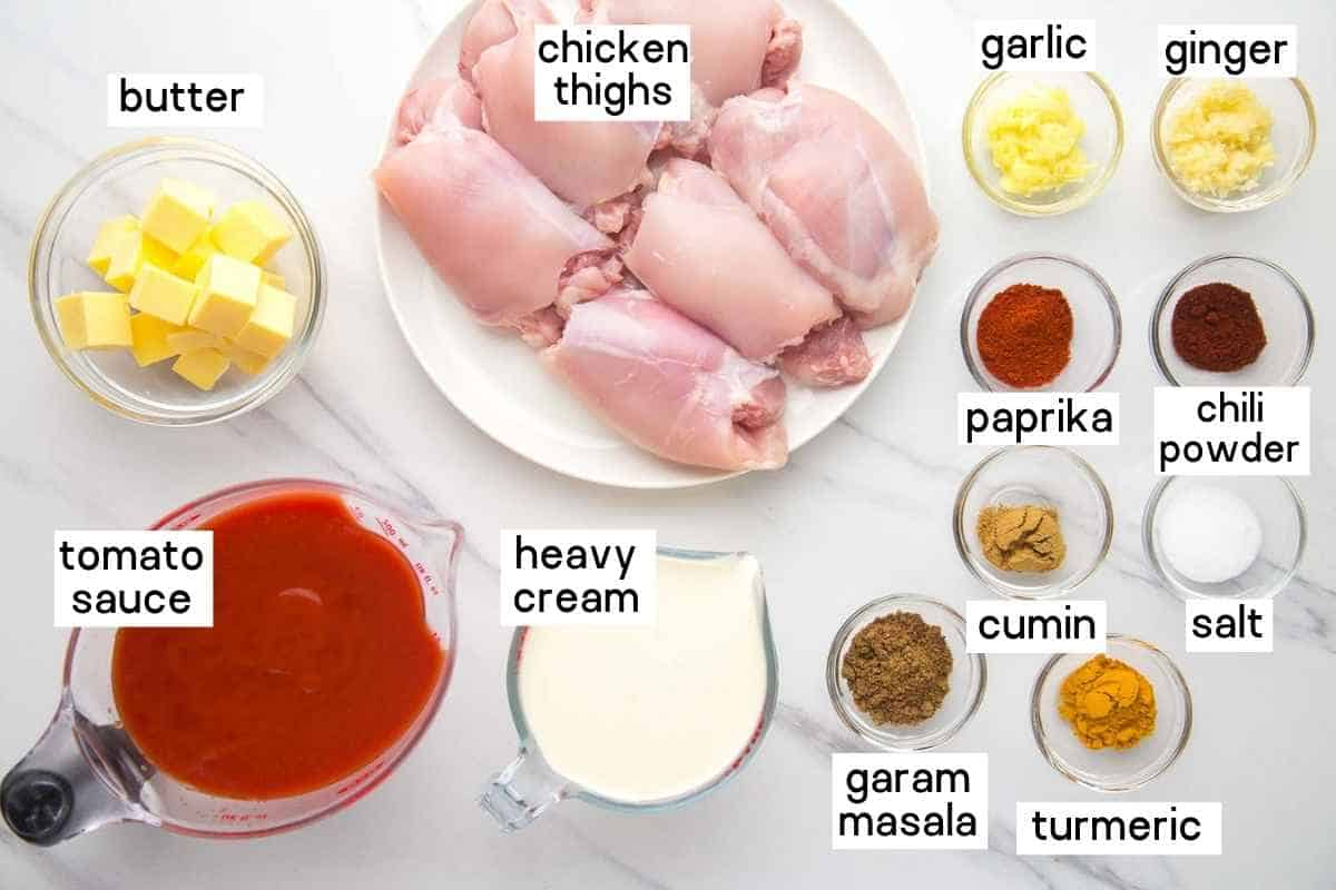 Ingredients needed to make butter chicken