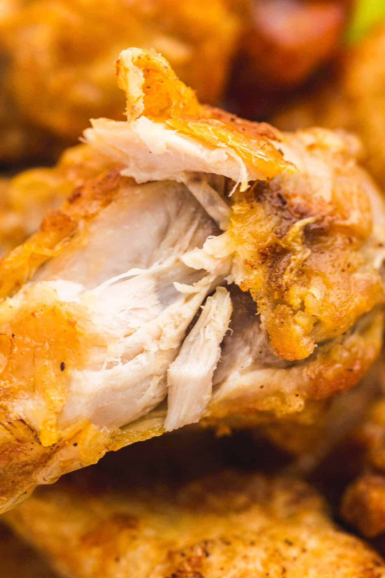 Close up of a chicken wing meat