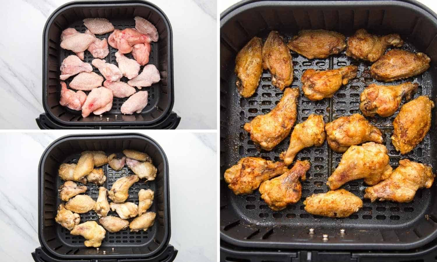 A collage of 3 images how to make frozen chicken wings in the air fryer