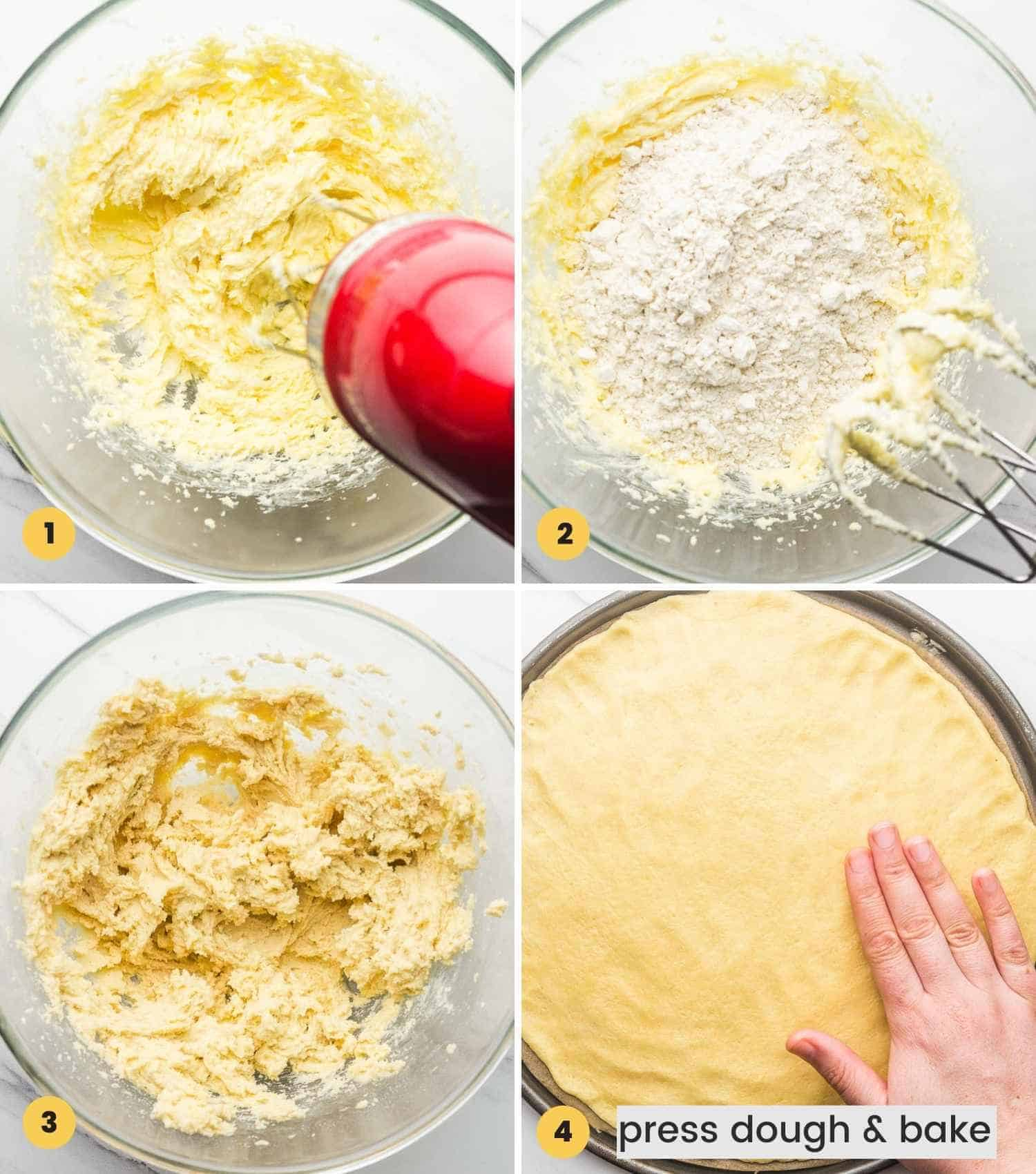 Copy of How to Make Cookie dough for Fruit Pizza, a collage with 4 images