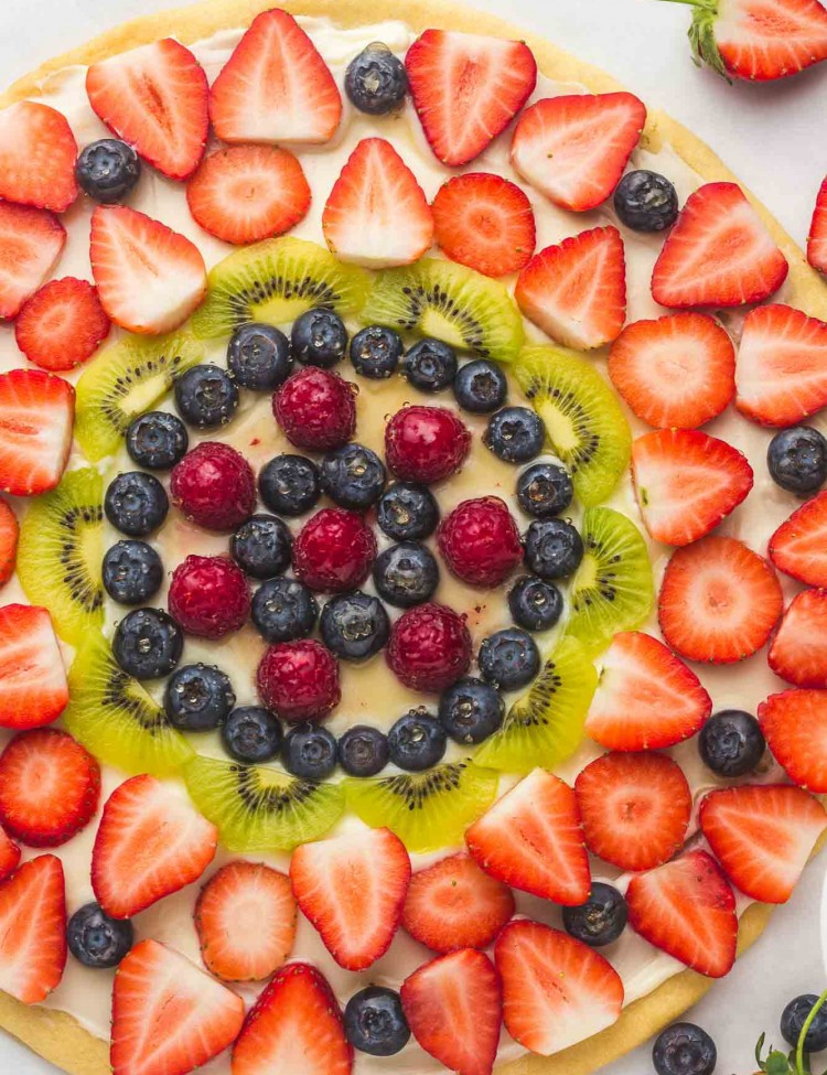 Overhead shot of a fruit pizza