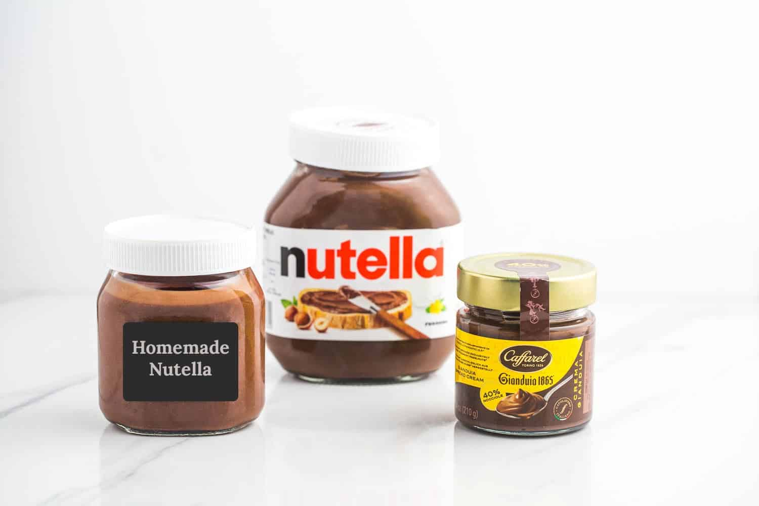 Homemade and store bought Nutella, and Gianduia
