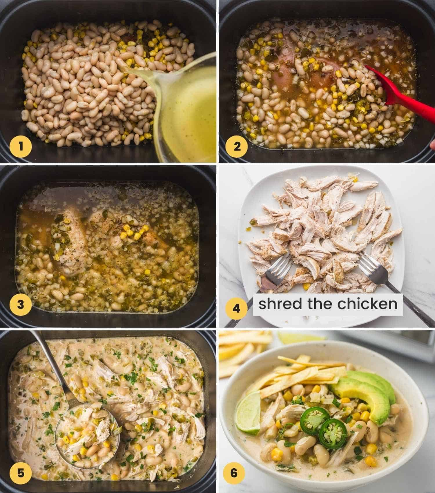A collage with 6 images on how to make Creamy Crockpot White Chicken Chili