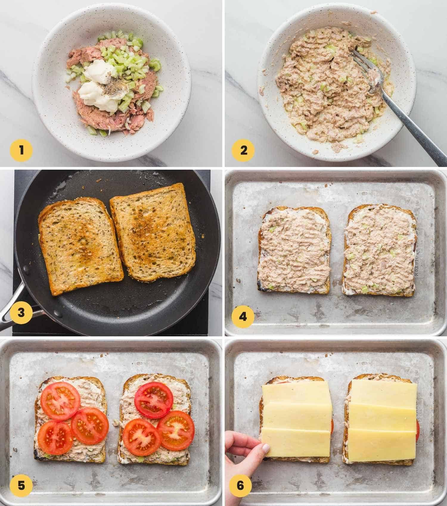 A collage with 6 images showing how to make tuna melt.