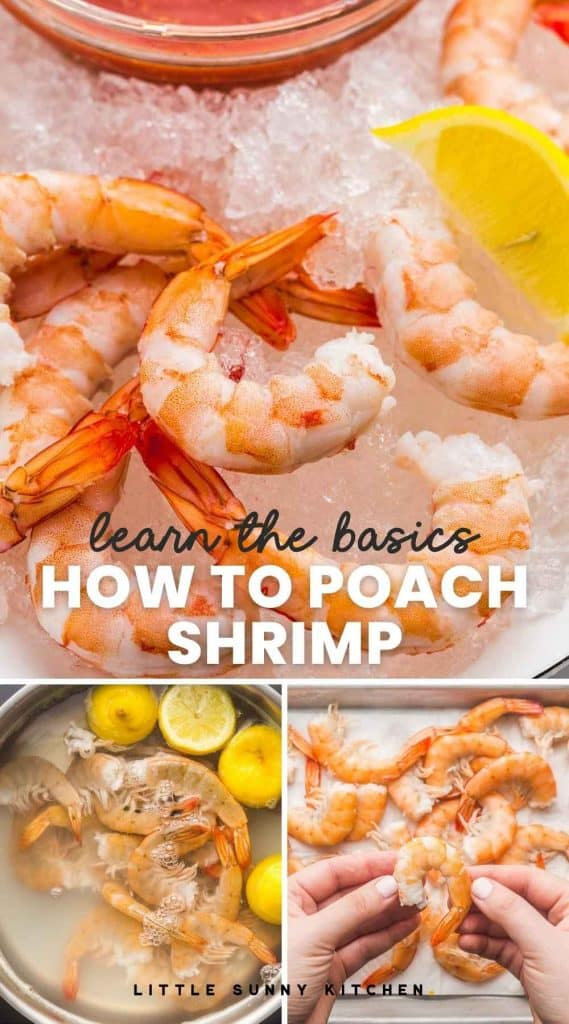 """A collage with 3 images of the process of poaching shrimp, and poached shrimp served over ice. With overlay text """"learn the basics, how to poach shrimp"""""""