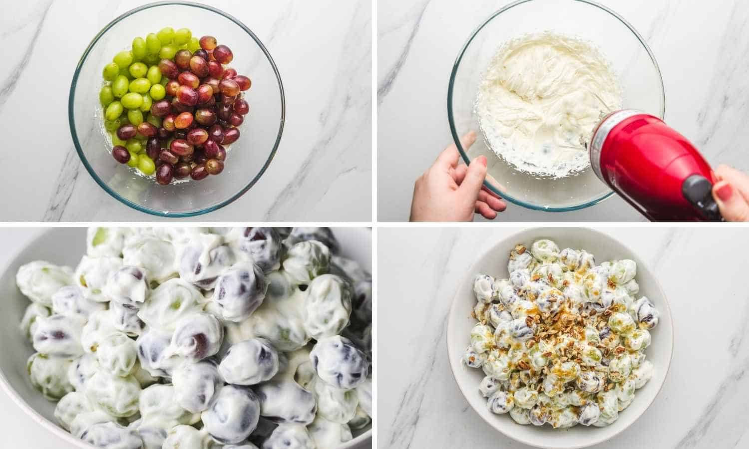 A collage with 3 images showing how to make creamy grape salad