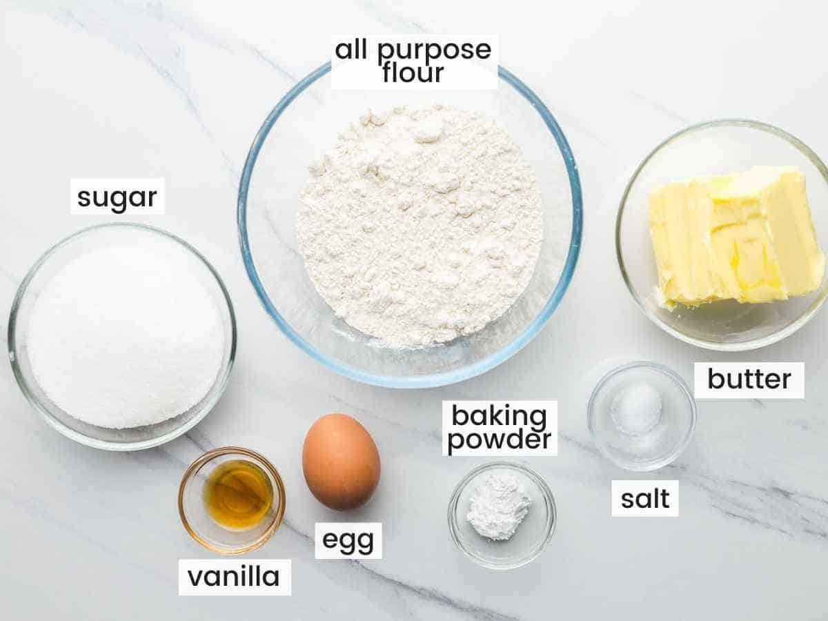 Ingredients to make cookie dough base for fruit pizza