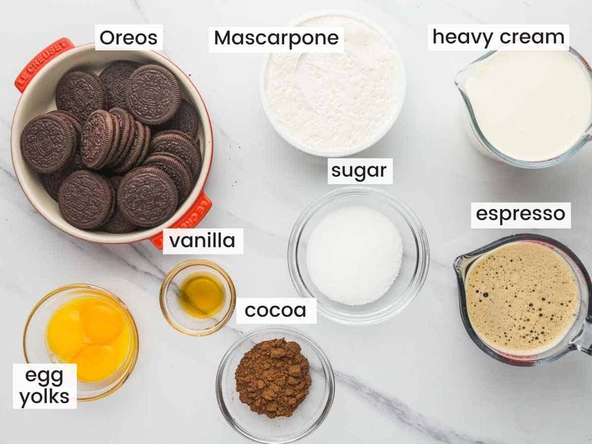 Ingredients needed to make Oreo Tiramisu