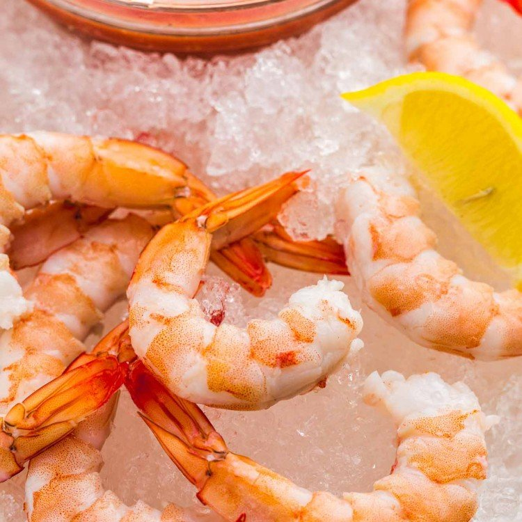 Close up shot of poached shrimp served over crushed ice with lemon wedges and shrimp cocktail on the side
