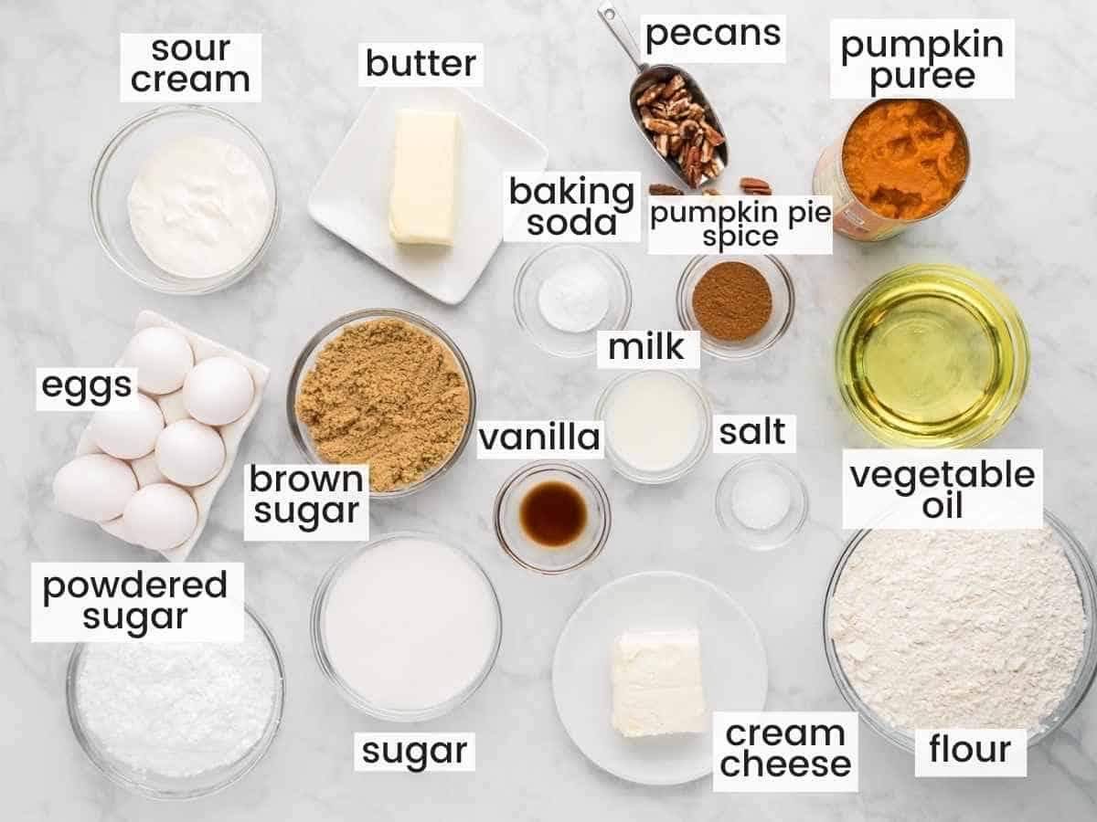 Ingredients needed to make a pumpkin bundt cake