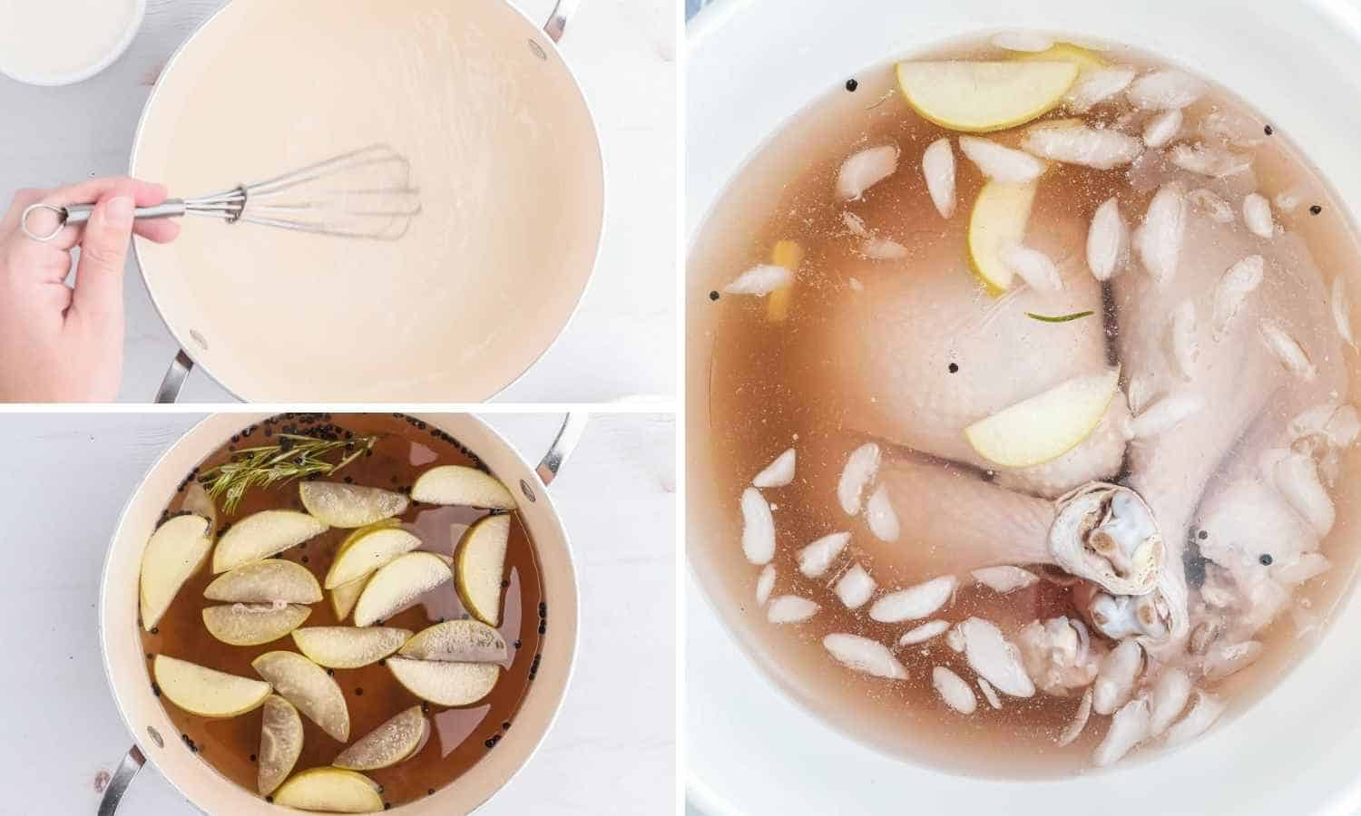A collage with 3 images how to make a brine and brine a smoked turkey