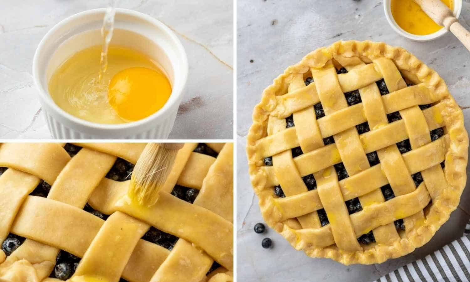 3 images how to make egg wash and brush it on top of the pie