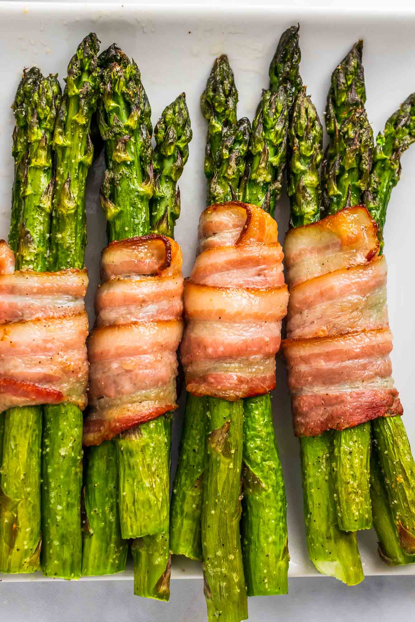 Overhead shot of bacon wrapped asparagus