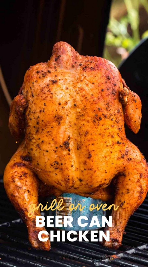 """Beer can chicken placed on an outdoor grill. With overlay text """"Grill or oven beer can chicken"""""""
