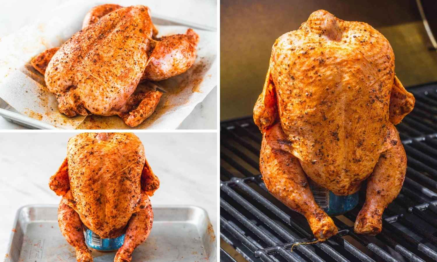 A collage with 3 images showing how to season a whole chicken, place it on a can of beer then put on the grill.