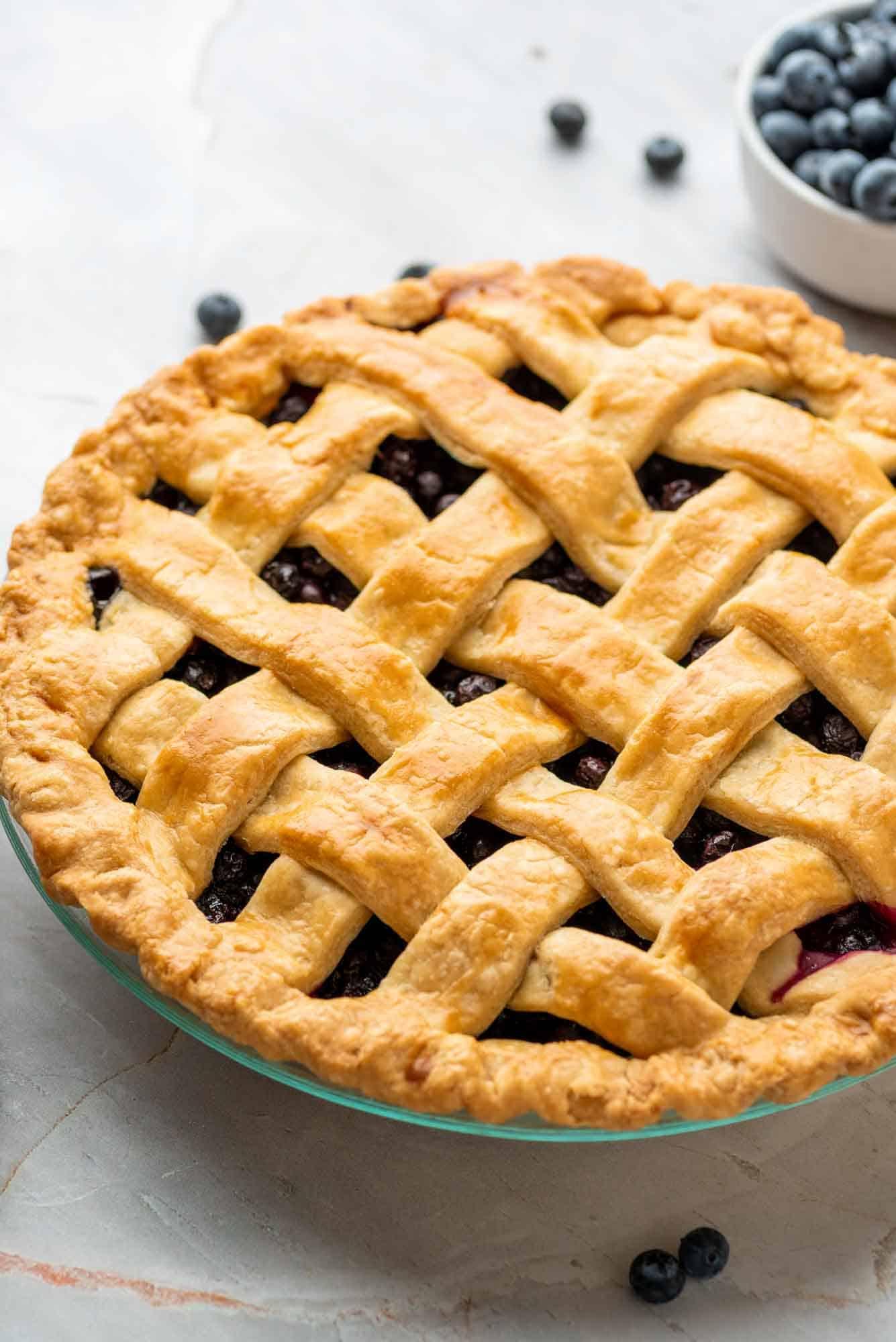 Blueberry pie freshly baked