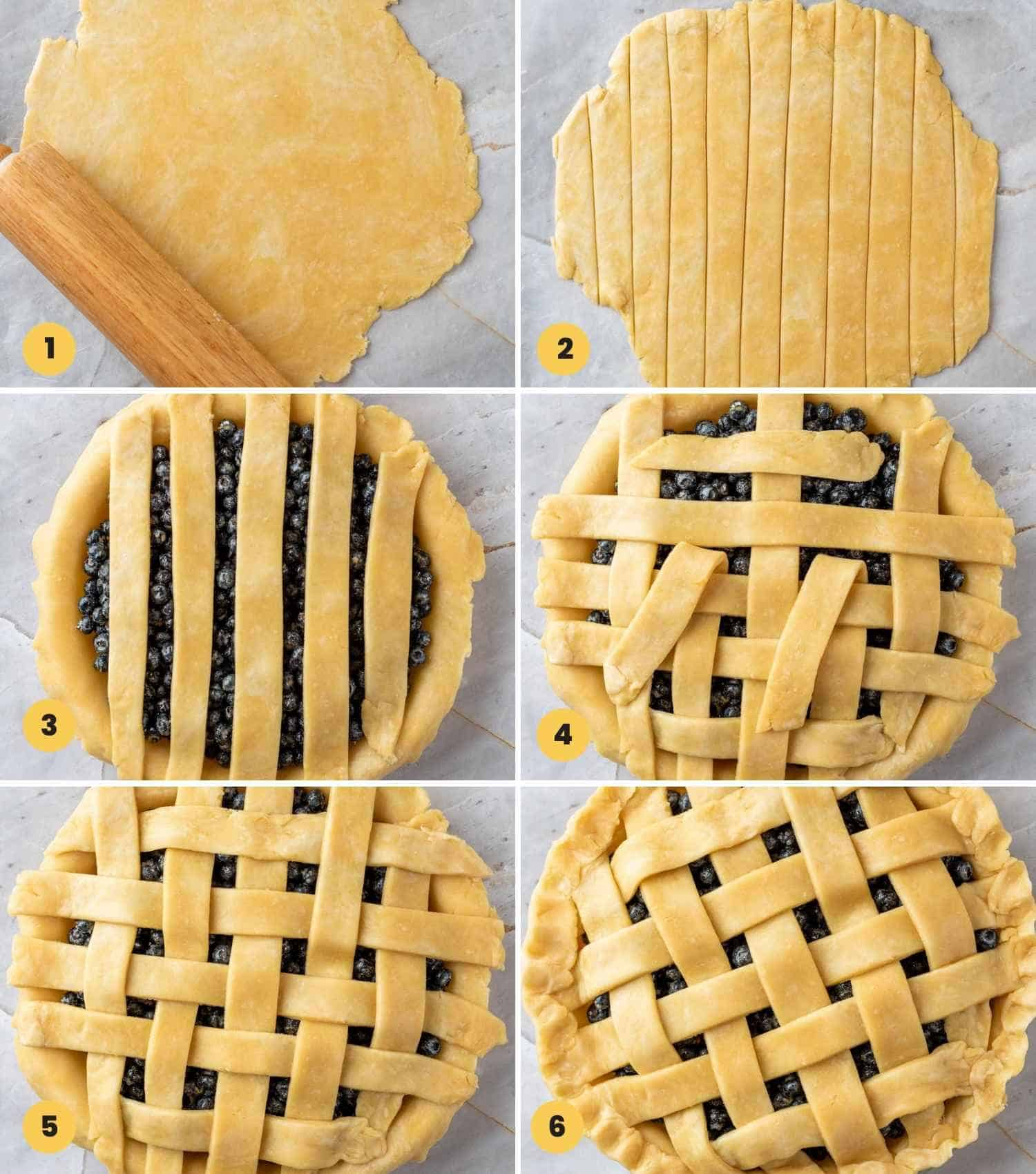 collage with 6 images how to lattice blueberry pie