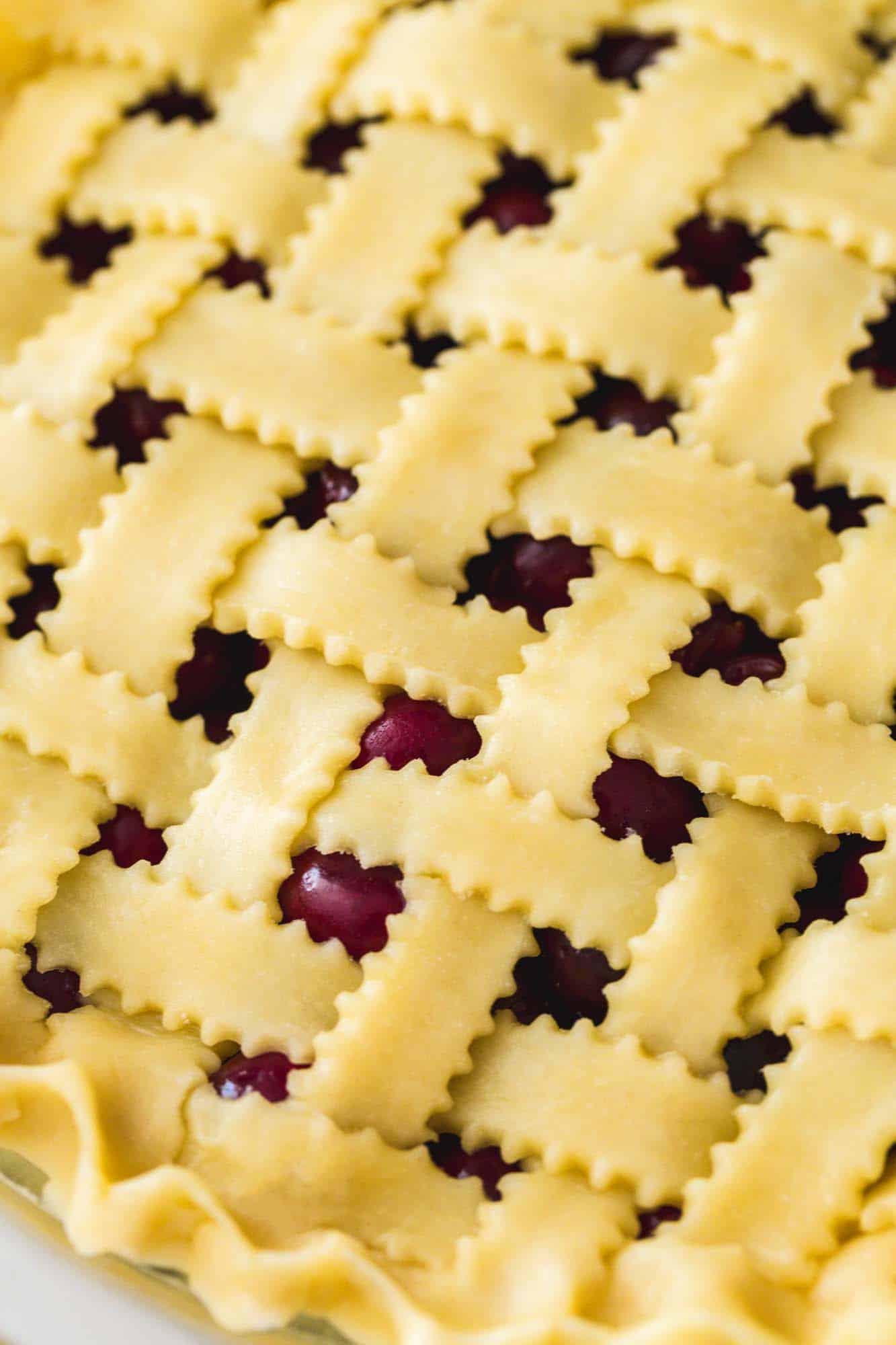 Lattice top on an unbaked pie