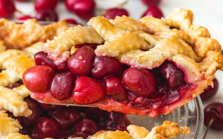 Taking a slice of cherry pie