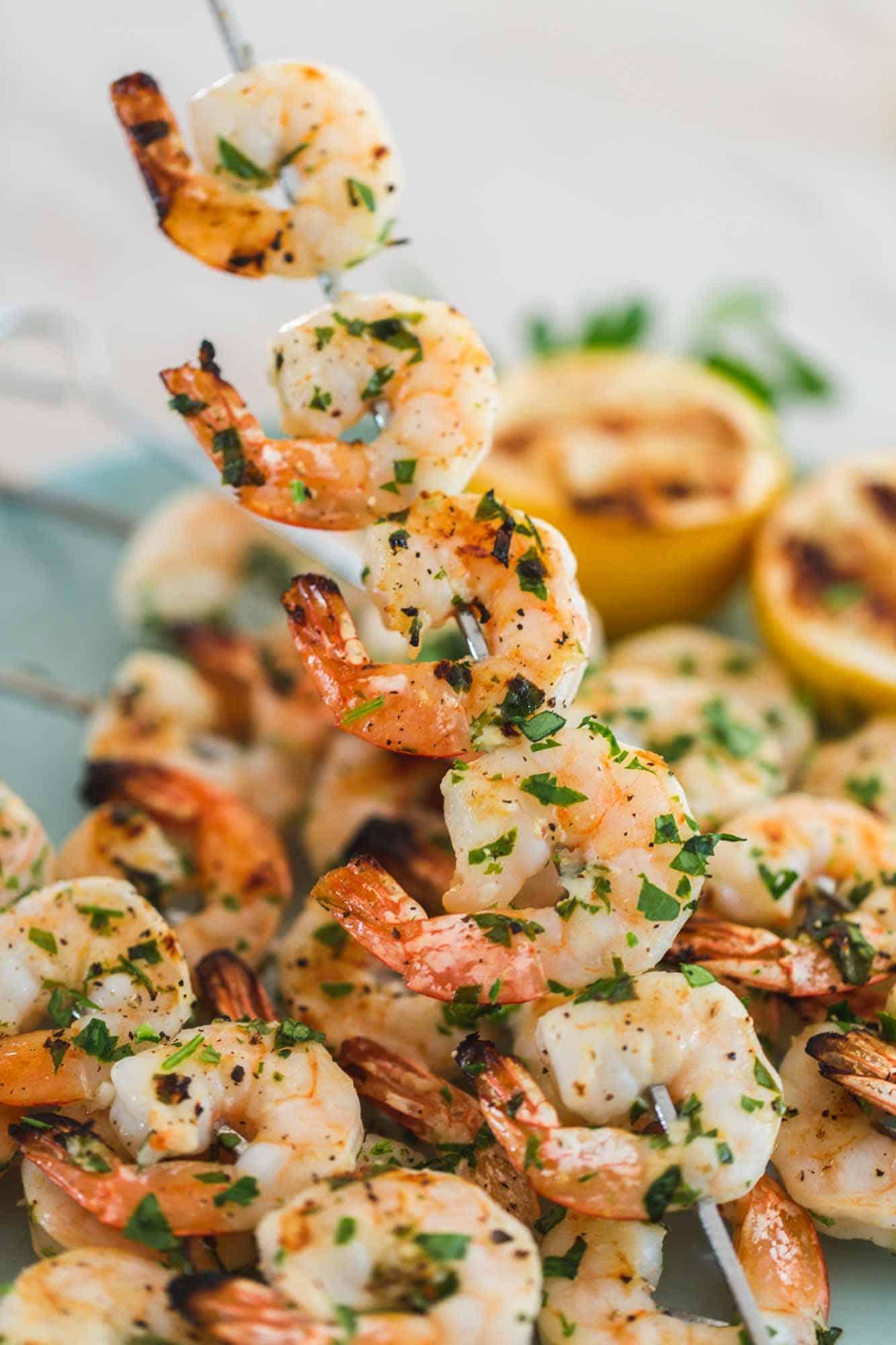 Garlic grilled shrimp on a skewer