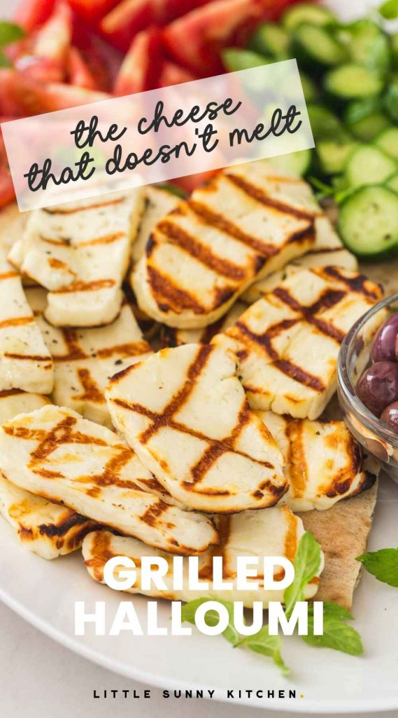 """Grilled halloumi slices on a platter with overlay text """"The cheese that doesn't melt, grilled halloumi"""""""