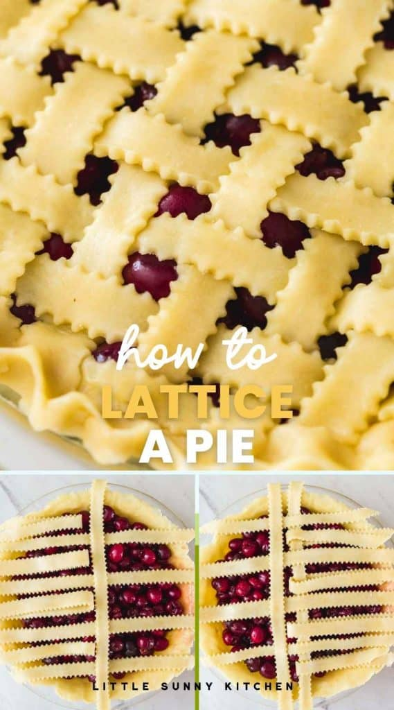 """A collage with 3 images with pie lattice, and overlay text """"how to lattice a pie"""""""