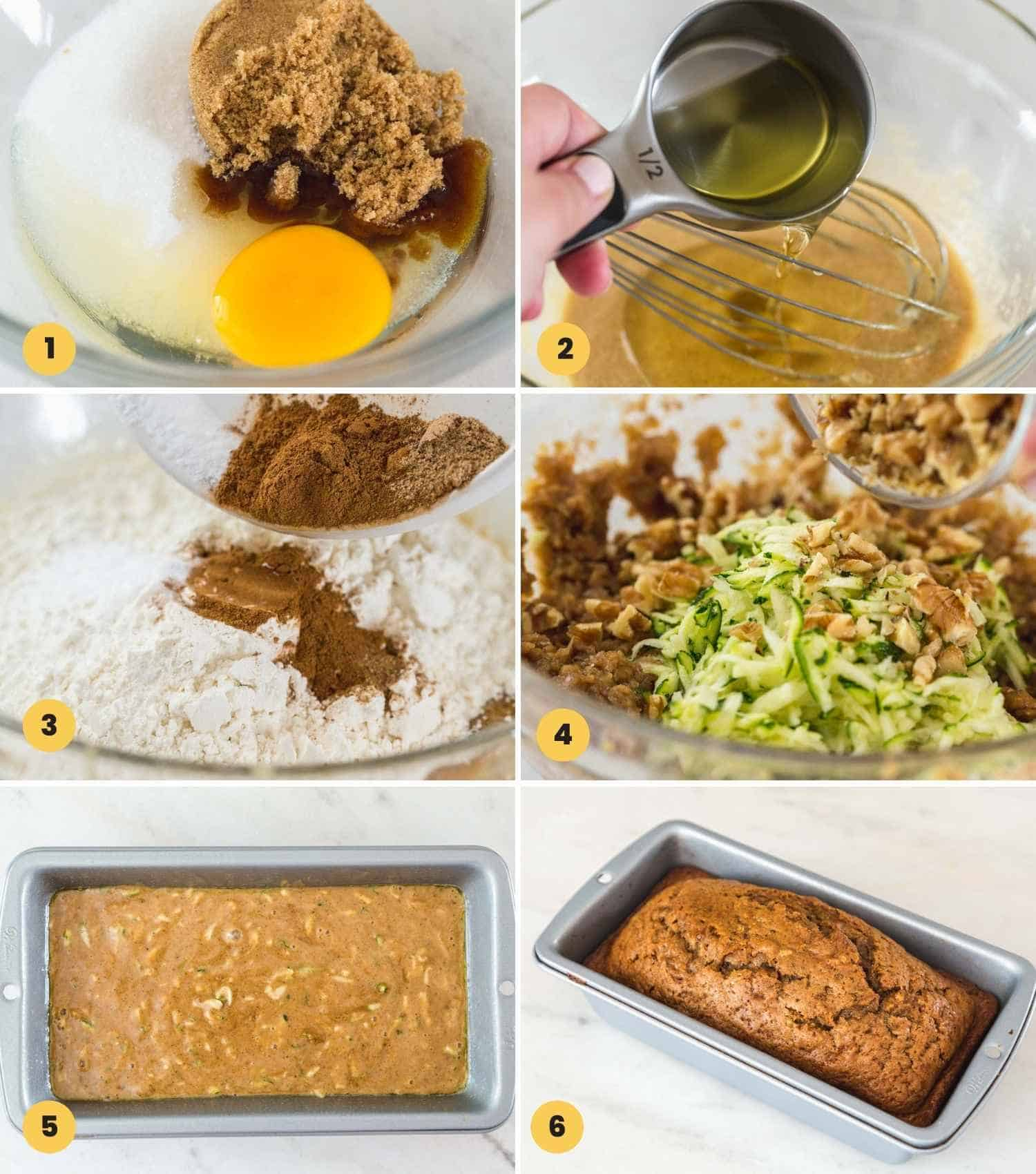 How to make zucchini bread, step by step shown in a collage of 6 images