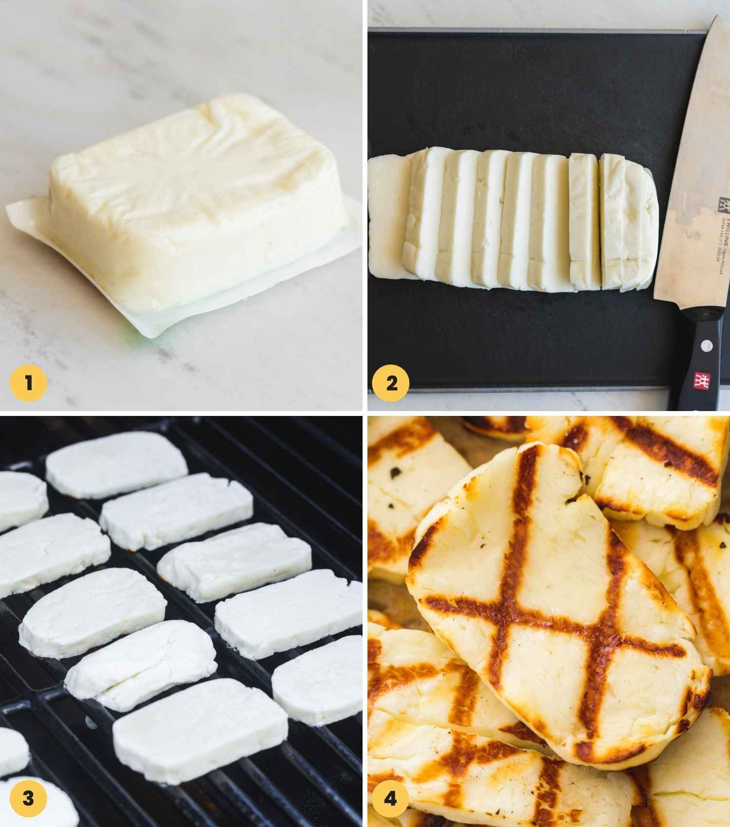 A collage with 4 images on how to slice a block of halloumi and then grill it on an outdoor grill