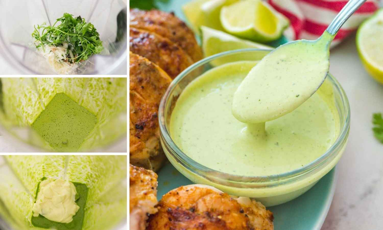 A collage with 4 images showing how to make aji verde green sauce