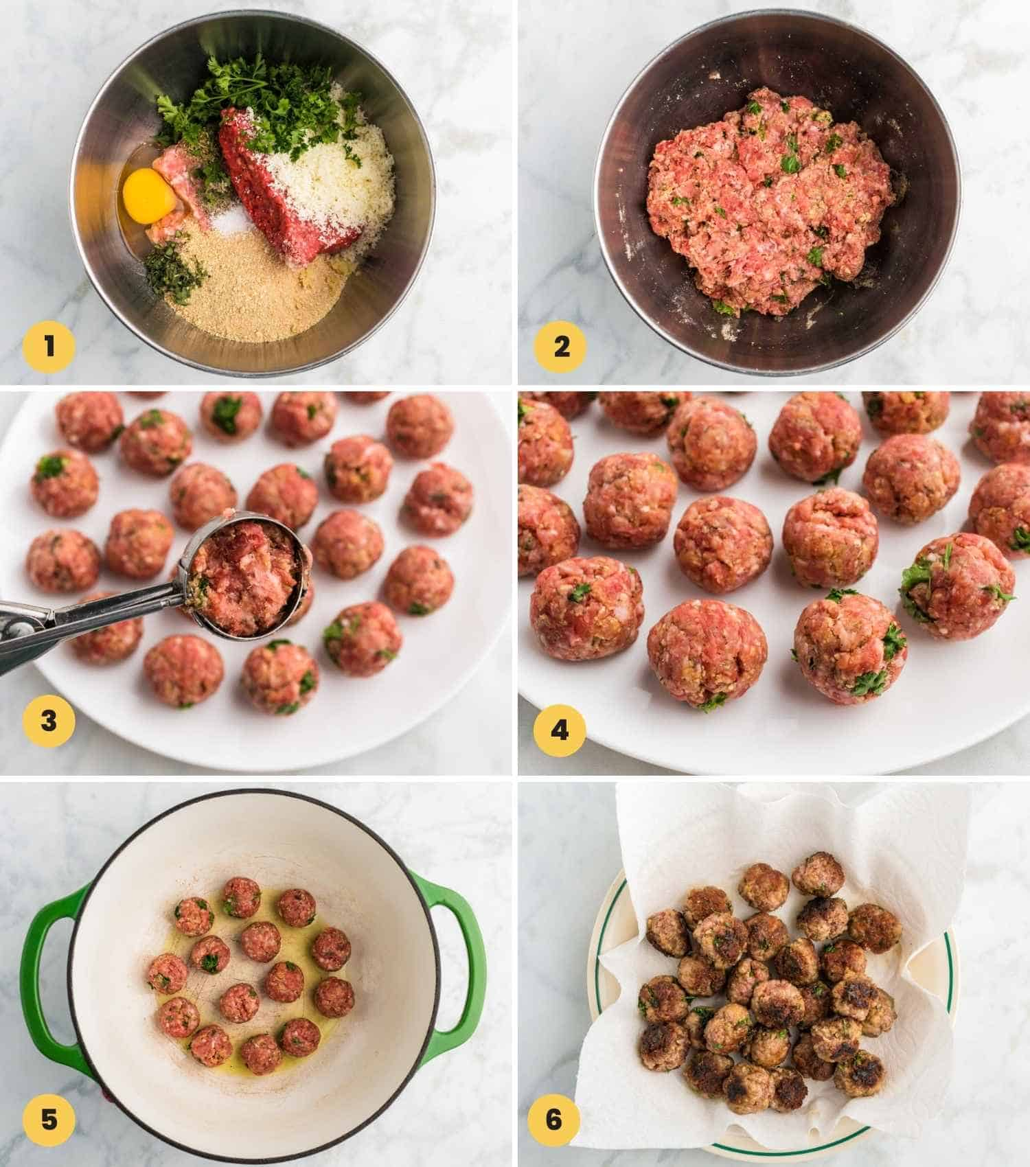 A collage with 6 images showing how to make meatballs for italian wedding soup