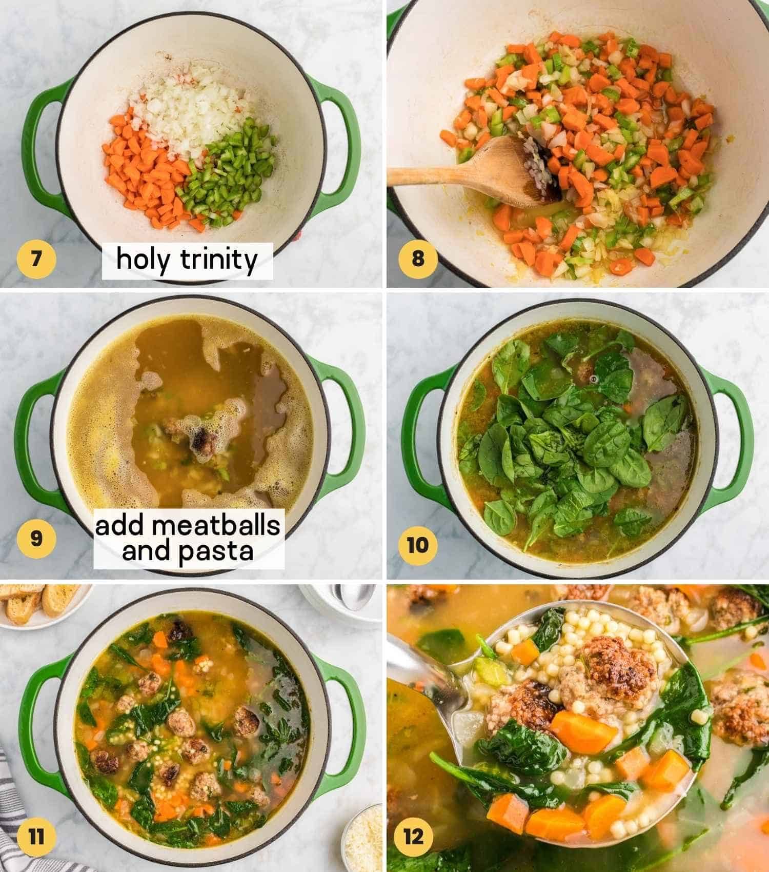 A collage with 6 images showing how to make italian wedding soup with meatballs