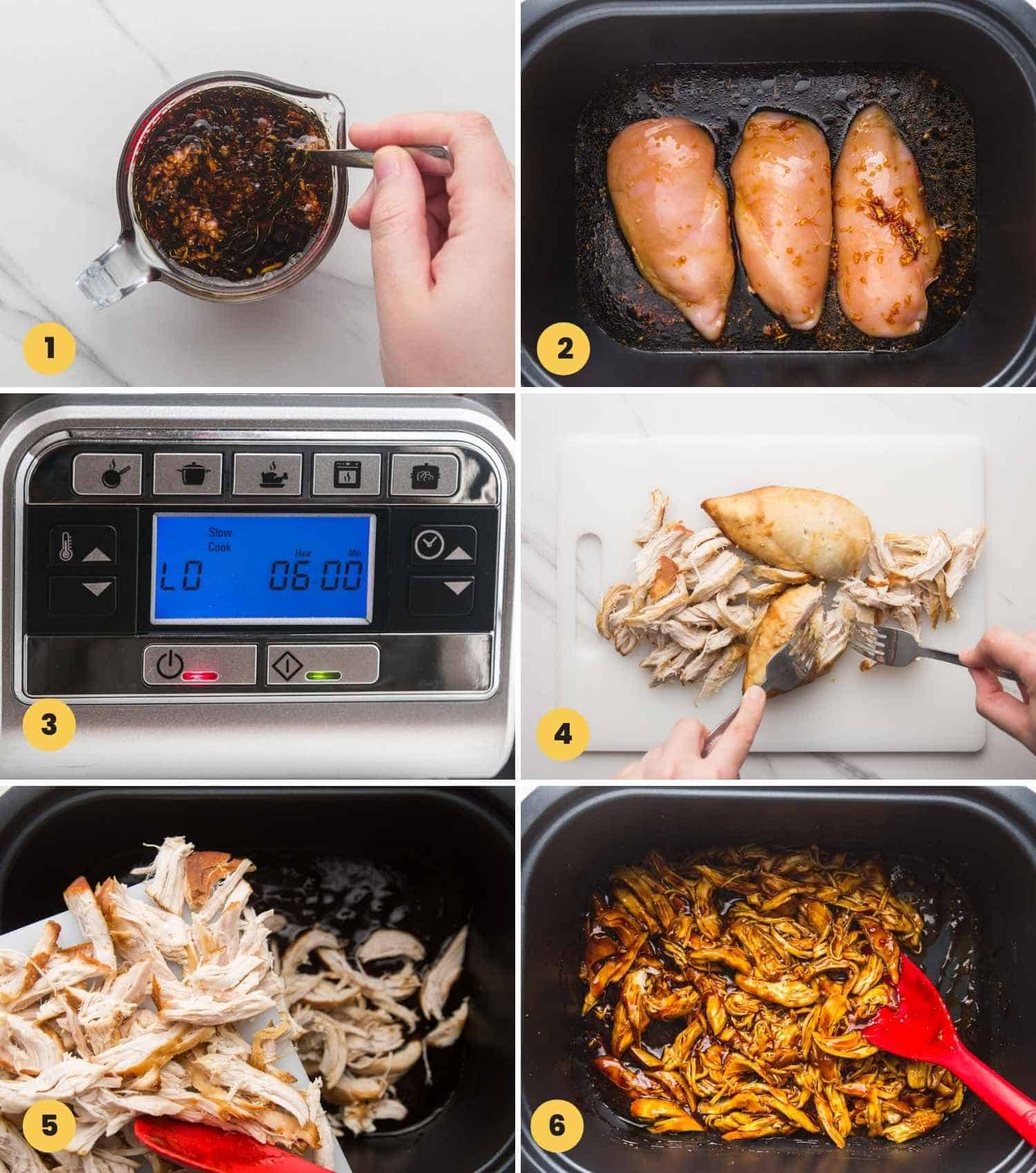 A collage with 6 images showing how to make teriyaki chicken in the slow cooker