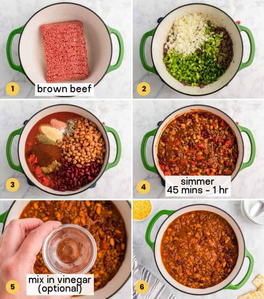 A collage with 6 images showing how to make Wendy's Chili over the stovetop