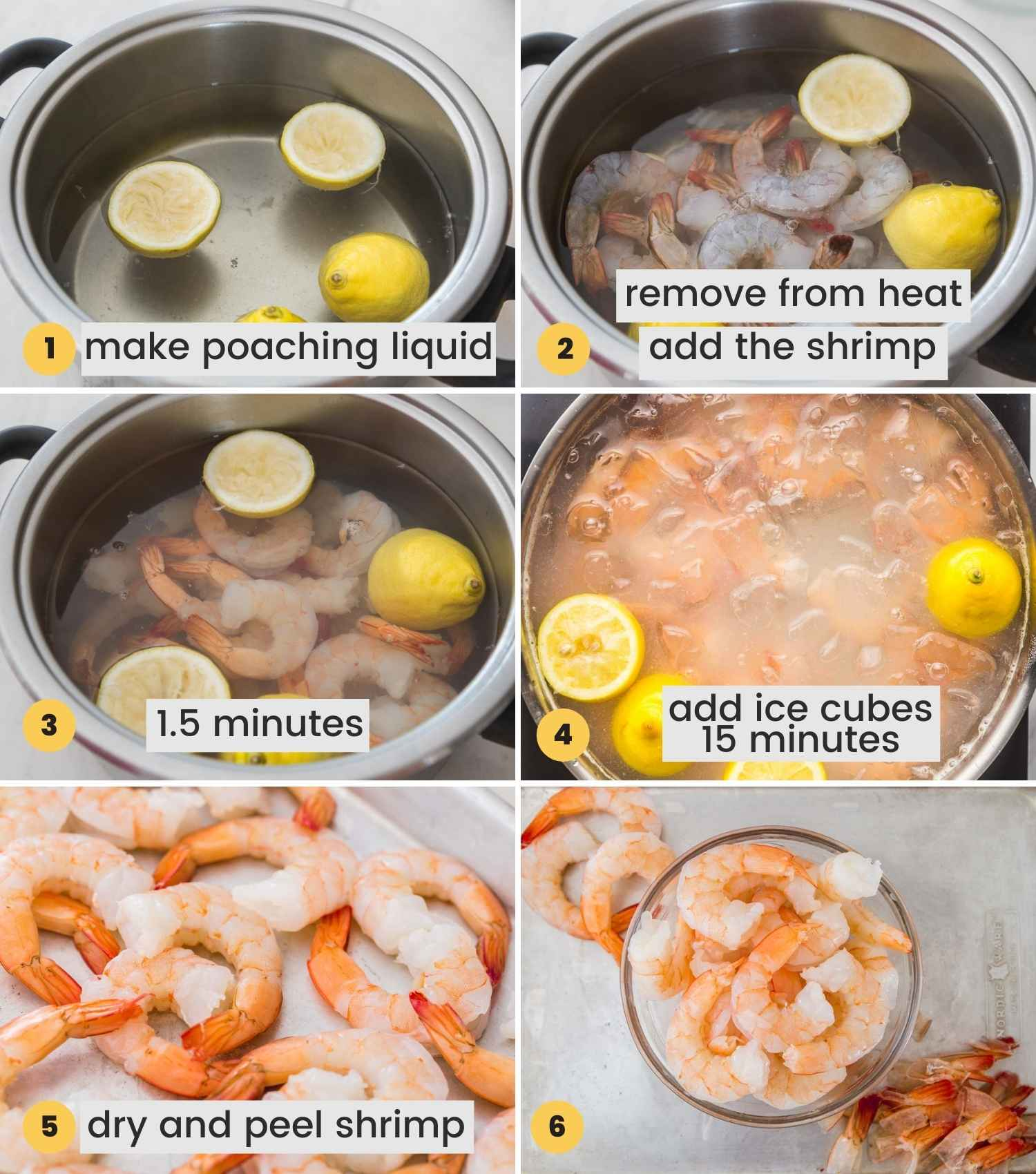 A collage with 6 images showing how to poach shrimp to make ceviche