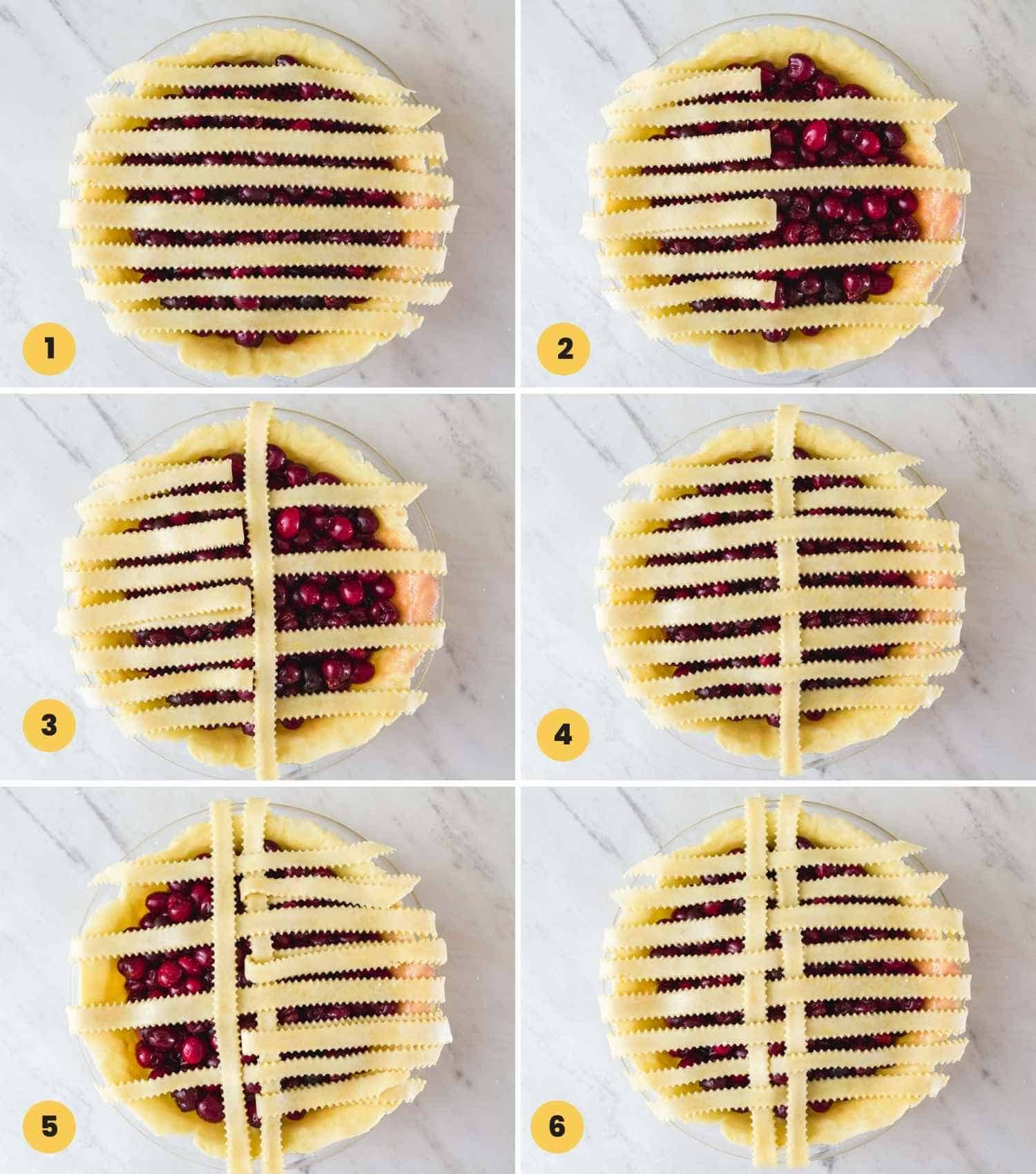 A collage with 6 images on how to lattice a pie crust