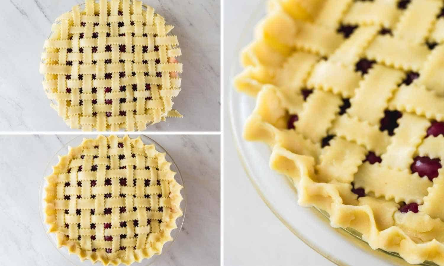 A collage with 3 images how to crimp the edges of a pie crust