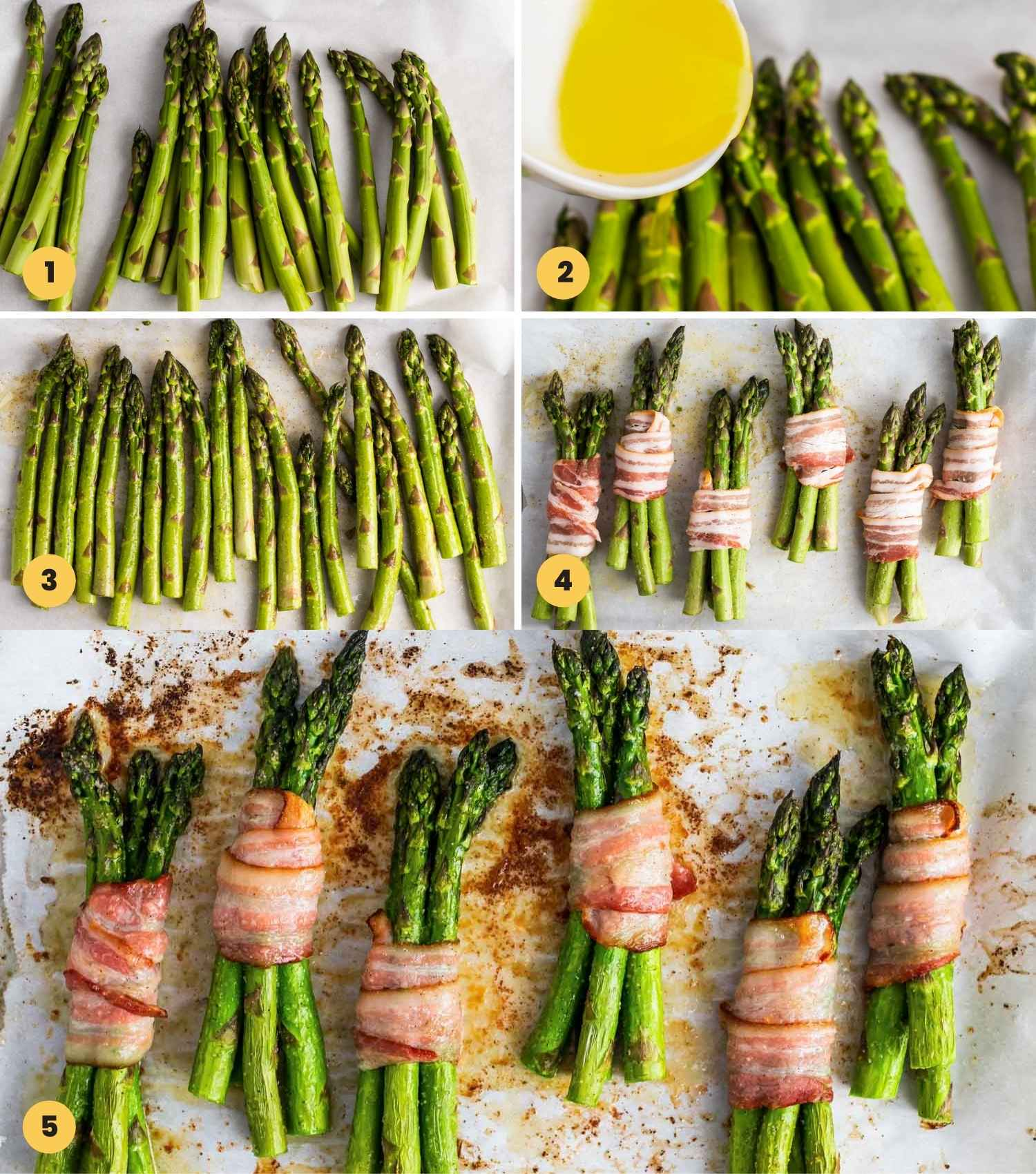 How to make Bacon Wrapped Asparagus shown in a collage of 5 images