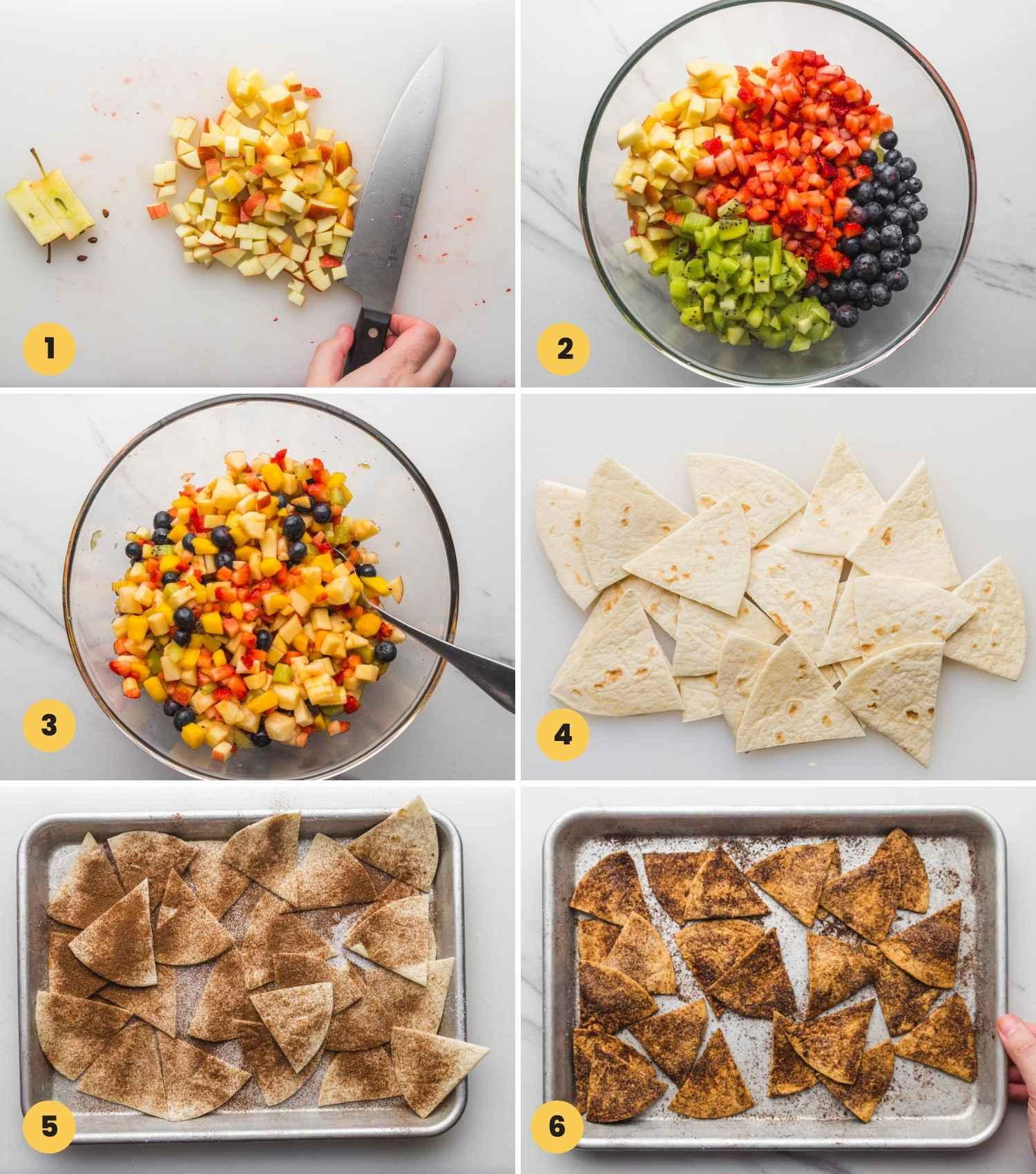 Collage with 6 images on how to make fruit salsa and cinnamon chips