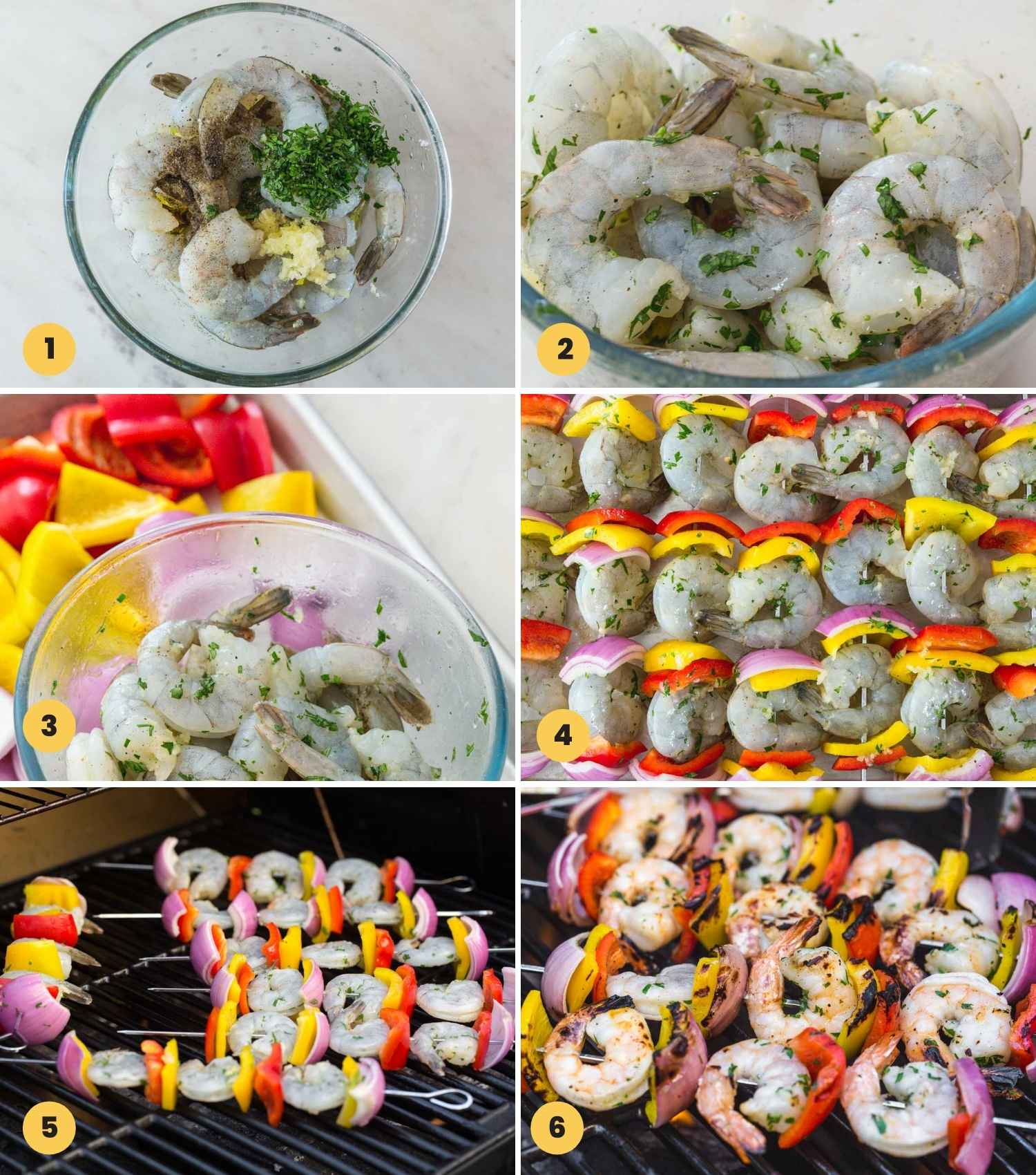 Collage with 6 images showing how to make grilled shrimp kabobs