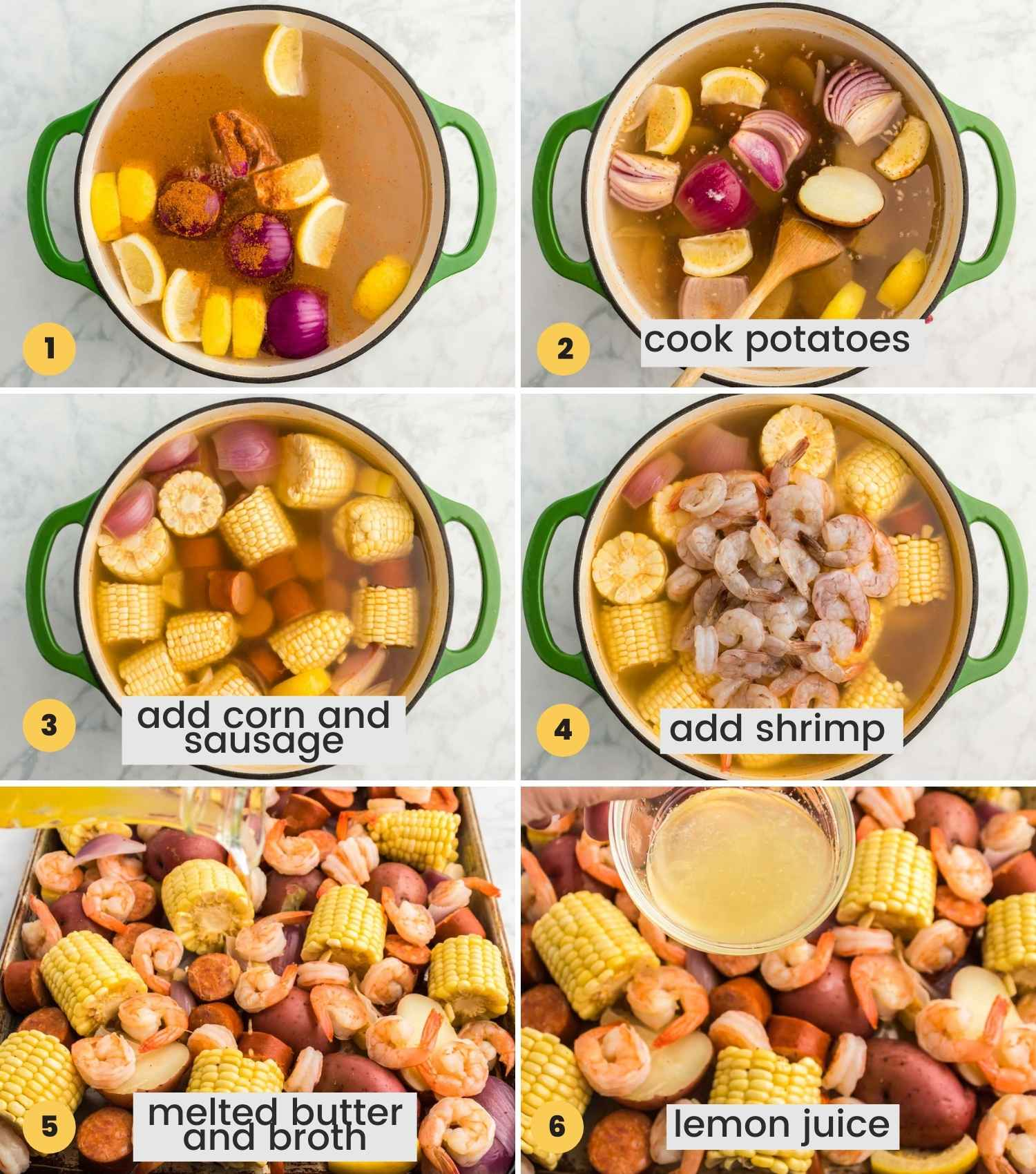 A collage with 6 images showing how to make shrimp boil in a dutch oven and season it with broth, melted butter and lemon juice before serving.
