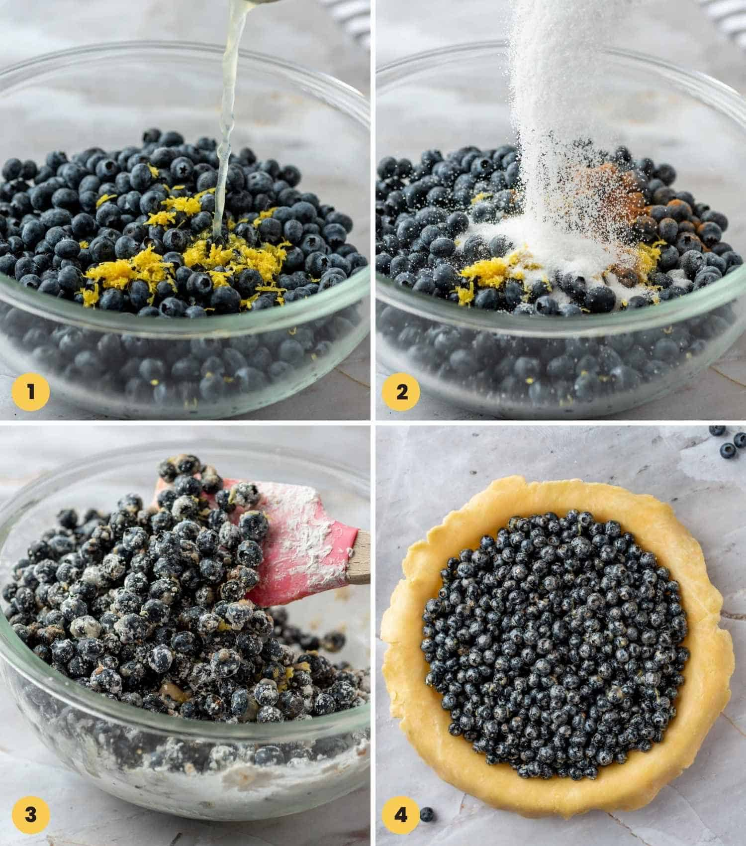 Collage with 4 images showing to prepare blueberry pie filling