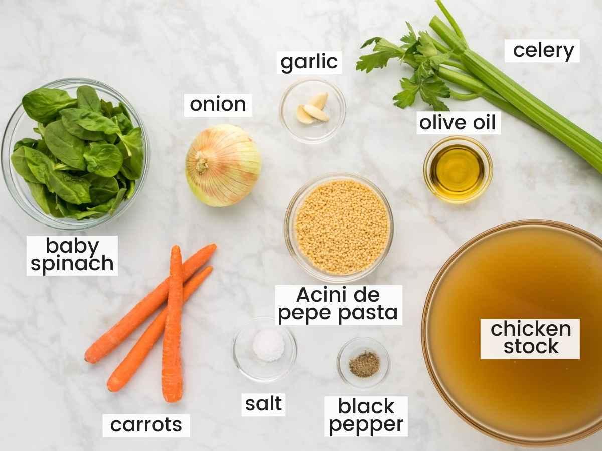 Ingredients needed for Italian wedding soup including vegetables, chicken stock, acini de pepe pasta, olive oil, salt and pepper.