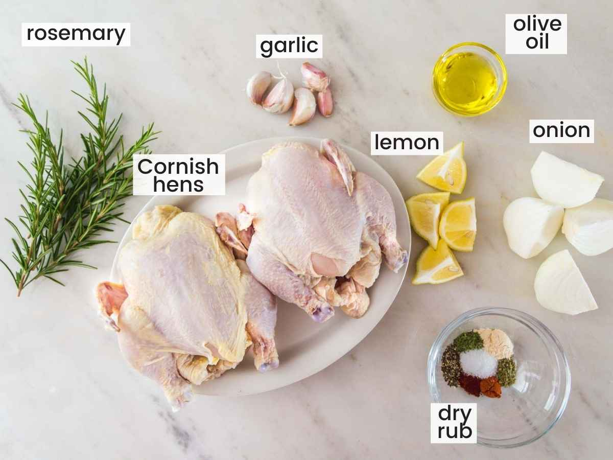 Ingredients needed to cook Cornish Hens including 2 Cornish hens, fresh rosemary sprigs, lemon, olive oil, garlic cloves, onion, and dry rub.