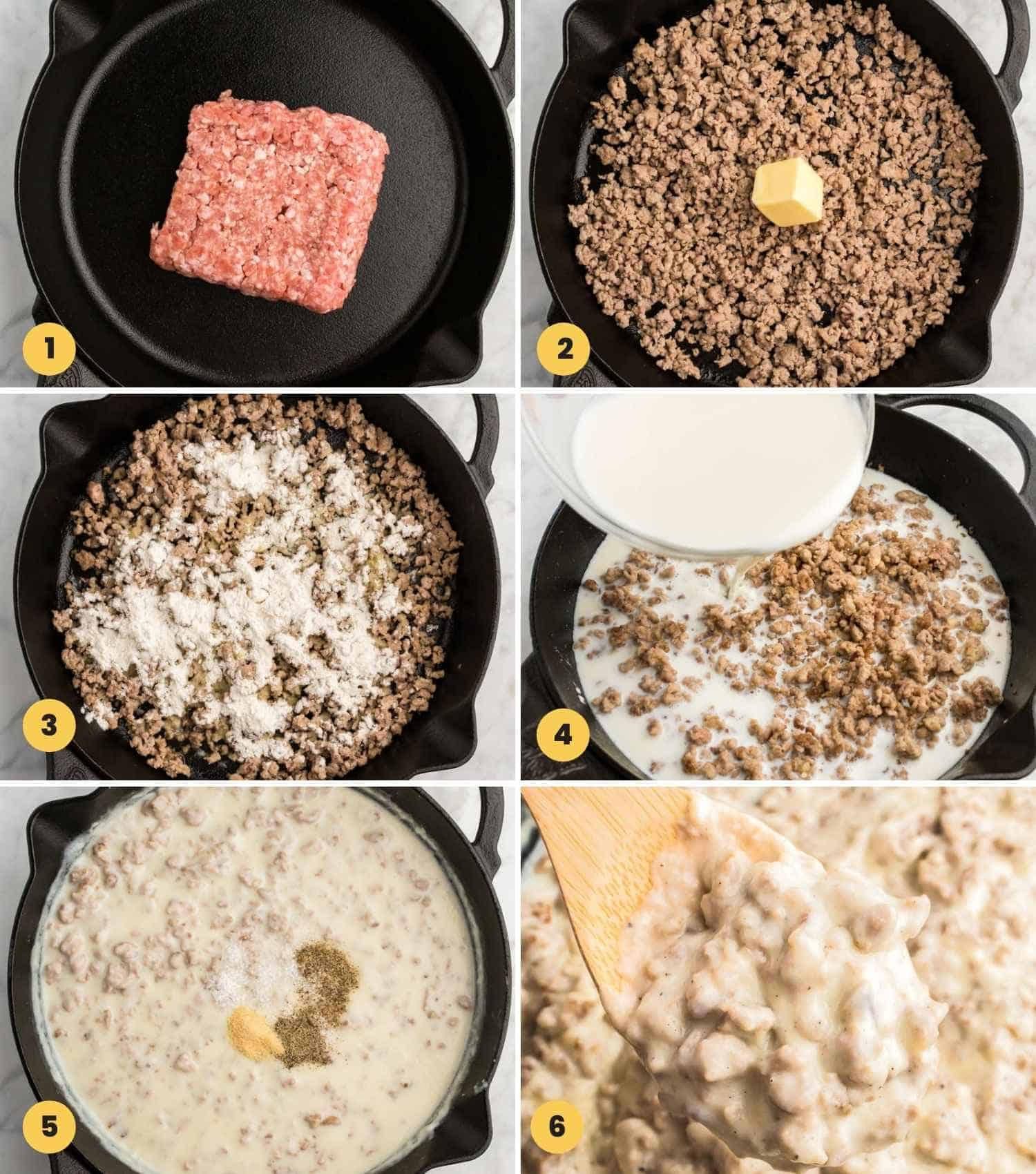 A collage with 6 images showing how to make sausage gravy