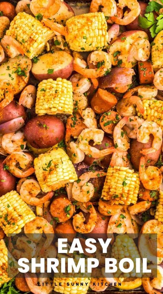 "Overhead shot of shrimp boil on a sheet pan with overlay text ""Easy Shrimp Boil"""