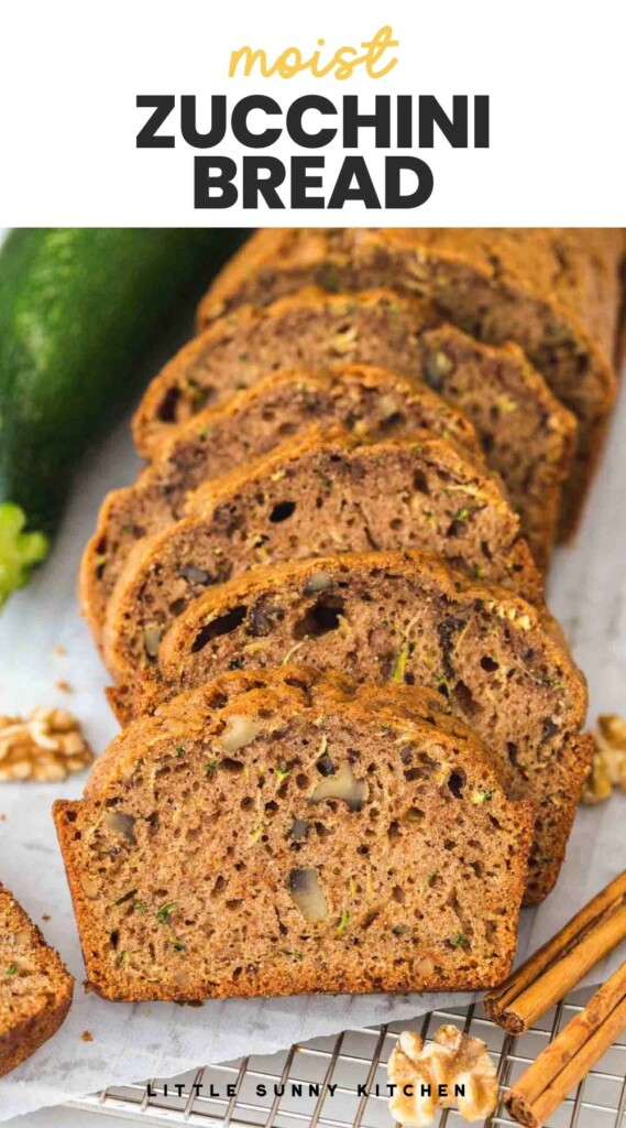 """Slices of zucchini bread with overlay text """"moist zucchini bread"""""""