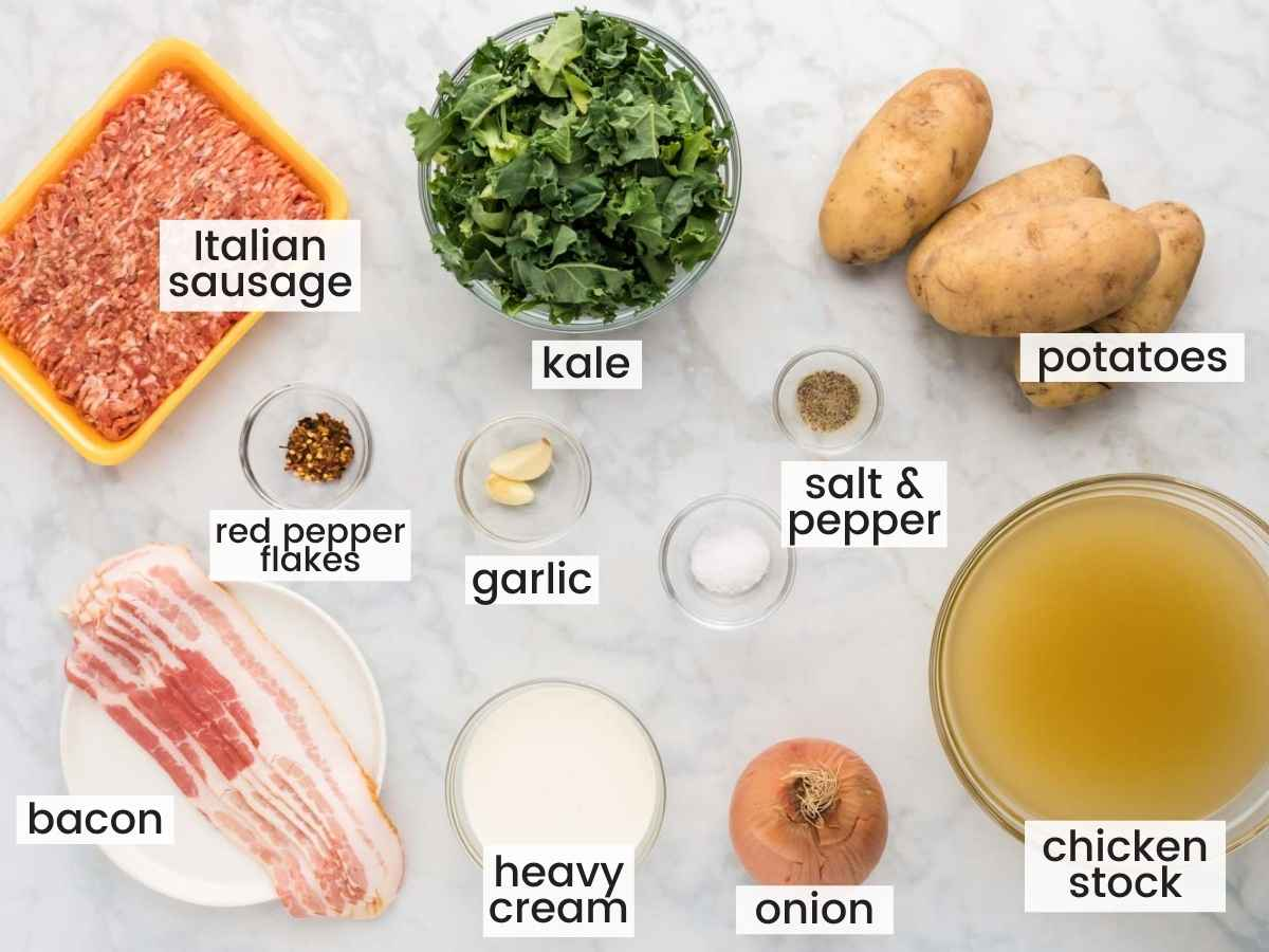 Ingredients needed to zuppa toscana including italian sausage, kale, bacon, potatoes, chicken stock, onion, heavy cream, and seasonings.