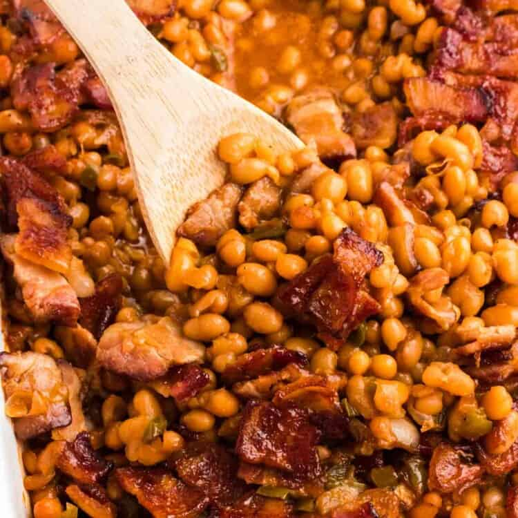 Baked beans and a wooden spoon
